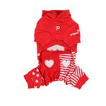 View Image 2 of Happy Star Hooded Dog Jumpsuit by Puppia - Red