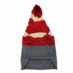 View Image 2 of Harley's Hooded Dog Sweater - Garnet Red & Gray Stripe