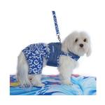 View Image 2 of Hawaiian Netted Dog Harness w/ Leash - Blue