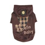 View Image 1 of Hello Baby Dog Hoodie by Puppia - Brown