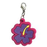 Hibiscus Soft Rubber Dog Collar Charm - Purple/Pink