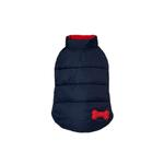 View Image 1 of Reversible Bone Puffer Dog Jacket by Fab Dog - Navy/Red