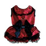 View Image 2 of Iridescent Burgundy Satin Dog Dress with Headpiece