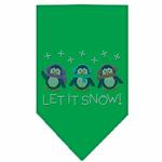 View Image 1 of Let it Snow Penguins Rhinestone Dog Bandana - Green