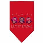 Let it Snow Penguins Rhinestone Dog Bandana - Red