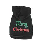 View Image 1 of Merry Christmas Print Dog Hoodie - Black