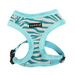 View Image 3 of Modern Zebra Dog Harness by Puppia - Blue