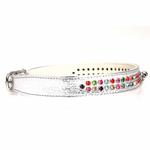 View Image 2 of Multi-Colored Crystal Dog Collar - Silver