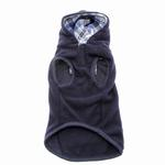 View Image 2 of Navy Blue Fleece Hoodie with Plaid Trim