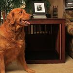 View Image 3 of Oak End Table Dog Crate - Mahogany