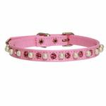 View Image 1 of Patent Pearl and Crystal Dog Collar - Pink