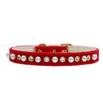 View Image 1 of Pearl & Crystal Dog Collar - Red Velvet