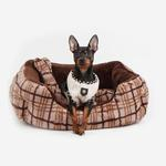 View Image 1 of Peasant Plaid Dog Bed by Puppia - Brown