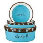 View Image 1 of Pet Studio Cutie Paw Pet Dishes - Blue
