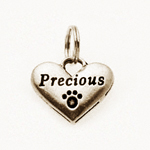 Pewter Dog Collar Charm or Cat Collar Charm: Precious