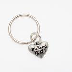 View Image 1 of Pewter Pet Lover Keychain - Blessed Cat Fishbone