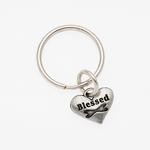 View Image 1 of Pewter Pet Lover Keychain - Blessed Dog Bone
