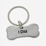 View Image 1 of Pewter Pet Lover Keychain - I Dig