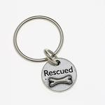 View Image 1 of Pewter Pet Lover Keychain - Rescued Bone