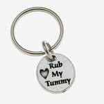 View Image 1 of Pewter Pet Lover Keychain - Rub My Tummy