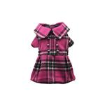 View Image 1 of Pink Plaid Dog Dress Coat
