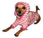 View Image 2 of Pink Stripe Cherry Hooded Shirt by Hip Doggie