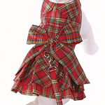 View Image 1 of Plaid Christmas Dog Dress & Leash - Red Bow