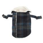 View Image 3 of Plaid Fleece Lined Dog Wrap Coat - Blue