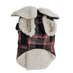 View Image 4 of Plaid Fleece Lined Dog Wrap Coat - Pink
