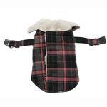 View Image 3 of Plaid Fleece Lined Dog Wrap Coat - Pink