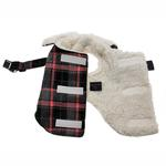 View Image 2 of Plaid Fleece Lined Dog Wrap Coat - Pink