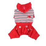 View Image 1 of Playschool Hooded Dog Jumpsuit by Pinkaholic - Red