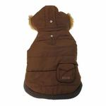 View Image 4 of Pocket Dog Parka by Dogo - Brown