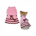 View Image 1 of Polka Dot Ribbon Dog Sweater Dress by Dogo