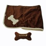 View Image 2 of Puppy Blanket and Toy Set - Brown