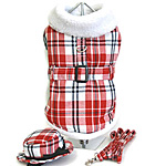 View Image 1 of Red & White Fleece Lined Coat w/ Matching Hat and Leash