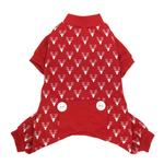 Reindeer Print Holiday Dog Pajamas - Red