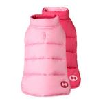 View Image 1 of Reversible Bone Puffer Dog Jacket by Fab Dog - Pink/Light Pink