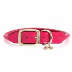 View Image 2 of Rolled Hot Pink Leather Dog Collar