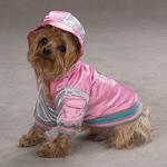 View Image 1 of Satin Bomber Dog Jacket - Pink