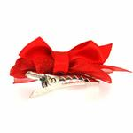 View Image 2 of Satin Dog Hair Bow with Alligator Clips - Red