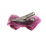 View Image 2 of Satin Dog Hair Bow with Alligator Clips - Colonial Rose