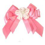 View Image 3 of Satin Handmade Dog Bow - Fuchsia