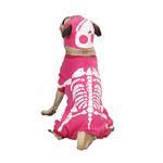View Image 1 of Skeleton Glow Bones Dog Costume - Pink