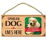 Spoiled Dog Lives Here Wood Sign with Photo Slot