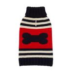 Striped Bone Turtleneck Dog Sweater by Fab Dog - Navy and Red