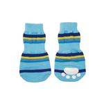 View Image 1 of Striped Slipper Dog Socks - Blue