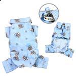 Teddy Bear Love Flannel Dog Pajamas - Light Blue