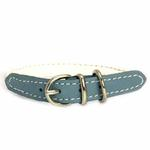 View Image 2 of Twisted Tubular Italian Leather Dog Collar - White & Blue