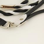 View Image 2 of Twisted Tubular Italian Leather Dog Leash - White & Black